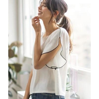 tシャツ Tシャツ 接触冷感袖メロウブラウス風Tシャツ