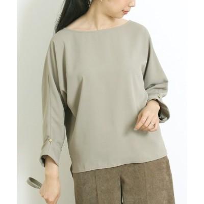 シャツ ブラウス [洗える]サテン配色Tブラウス【小さいサイズ・大きいサイズ対応】