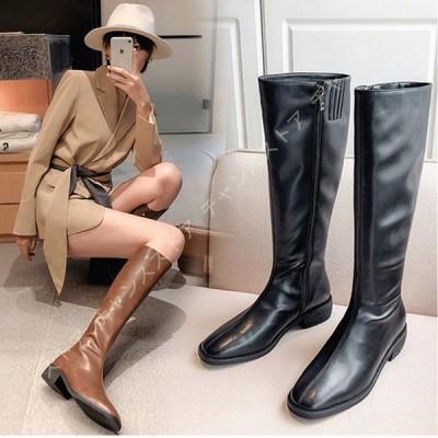 レディース 本革 ロングブーツ ブーツ 歩きやすい カジュアルシューズ 黒 ロング ブーツ 太ヒール チェルシーブーツ エンジニア ローヒール レディース靴