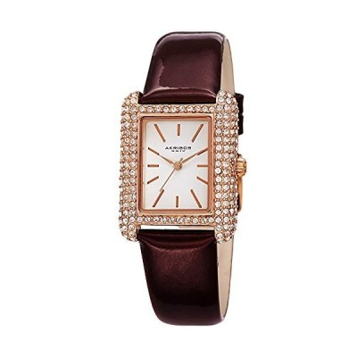 Akribos Swarovski Crystal & Diamond Accented Leather Strap Women's Rectangle Watch Packed in a Beautiful Gift Box AK1068 (Brown) 並行輸入品