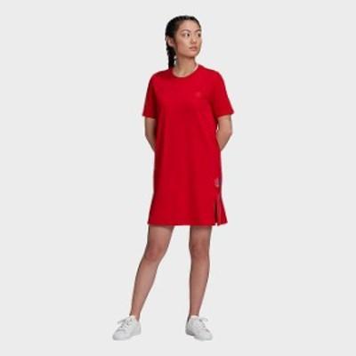 アディダス レディース ワンピース adidas Originals Adicolor 3D Trefoil Tee Dress ドレス Scarlet/Multicolor