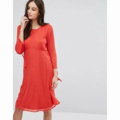 ヴィラ ワンピース Vila Spotty Mesh Swing Dress Red