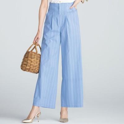ベルーナ 綿100%ストライプワイドパンツ ブルー L レディース
