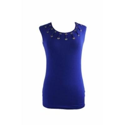 ファッション トップス Inc International Concepts Blue Solid Grommet-Trim-Neckline Top L