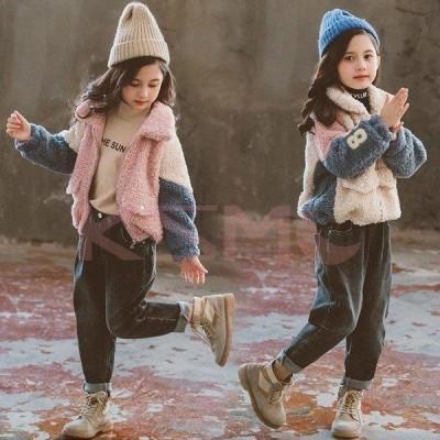 韓国子供服 キッズコート 秋冬 可愛い カッコイイ 女の子 子とも服 キッズジャケット 通学 長袖 カジュアル 切り替え 厚手 暖かい 大きいサイズ 2色
