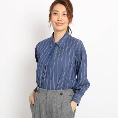 リフレクト Reflect 【STORY10月号掲載】シャツ襟ストライプブラウス (ブルー)