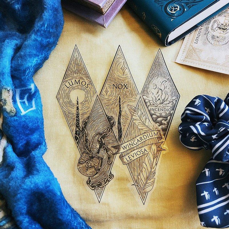 哈利波特咒語系列第一彈 - 透明膠質咒語貼紙5件套裝