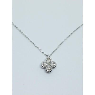 K18WG ダイヤモンド プチネックレス 0.30ct 四つ葉のクローバー