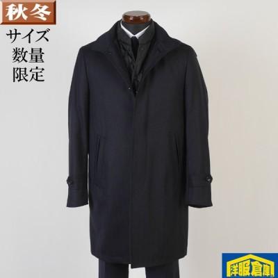 スタンドカラー コート フード ウール メンズ Sサイズ ライナー付き シャドーストライプ柄 ビジネスコートSG-S 14500 GC37022