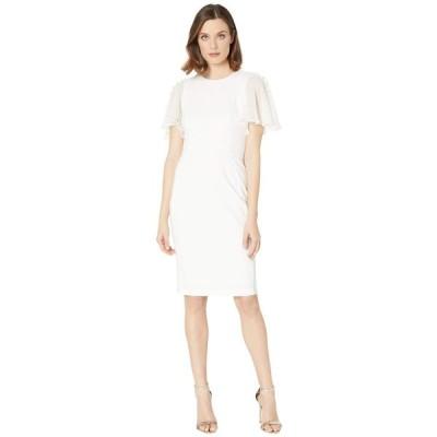カルバンクライン Calvin Klein レディース ワンピース ワンピース・ドレス Ruffle Chiffon Sleeve Sheath Dress Cream