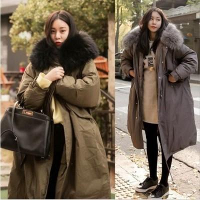 中綿コート ダウン風コート 冬用 レディース 大きいサイズファー付きフード ロング丈 ダウン風ジャケット アウター 暖かい 3色