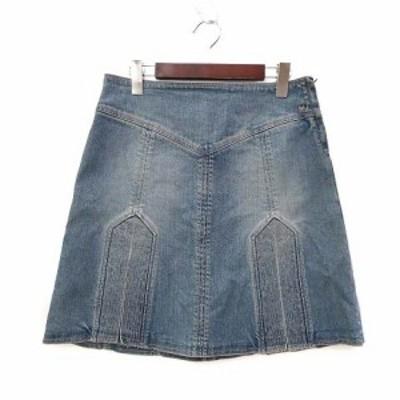【中古】マークジェイコブス MARC JACOBS デニム スカート 4 S インディゴ コットン ロゴ 刺繍 シンプル レディース