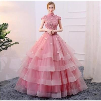高級感 ピンク 半袖 ウエディングドレス 蝶々柄 令和 プリンセス 花嫁 エレガント レディース 結婚式 編み上げ  着痩せ 二次会 披露宴 20代30代40代