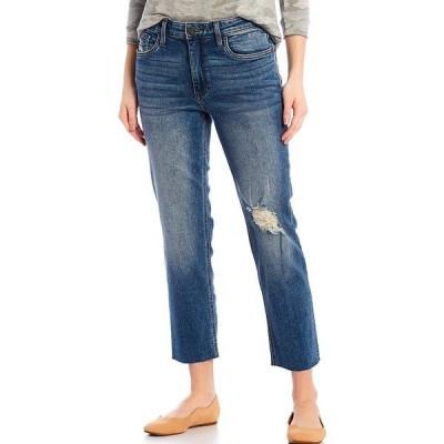 カットフロムザクロス レディース デニムパンツ ボトムス Rachel Mom Destruction Detail Raw Hem Crop Jeans Noticable with Medium Base Wash