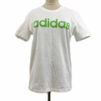 【中古】アディダスネオ Tシャツ カットソー クルーネック ロゴ プリント 半袖 J/M 白 黄緑 ホワイト レディース