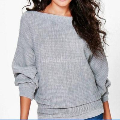 レディース カジュアルルースセーター 秋冬服 ロングバットウィングスリーブ 無地 プルオーバー 女性薄手のシャツ ジャンパー|プルオーバー|