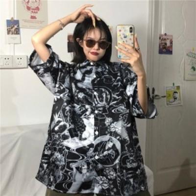 レディースファッション 韓国のtiktok半袖ターンダウン襟女性ブラウスワイルドプラスサイズの服ヴィンテージ2020新しいレディース夏トッ