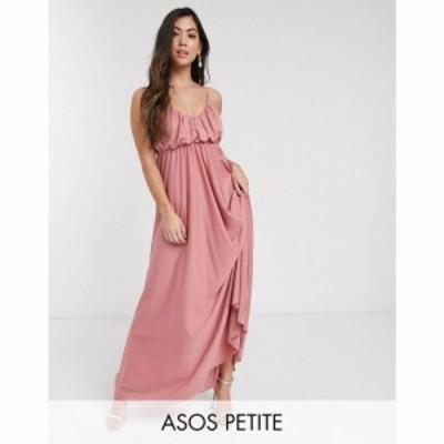 エイソス ASOS Petite レディース ワンピース キャミワンピ ASOS DESIGN Petite cami plunge maxi dress with blouson top in soft pink