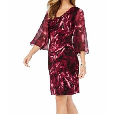 bell ベル ファッション ドレス Connected Apparel Womens Dress Purple Size 12 Sheath Printed Bell Sleeve