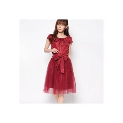 ジュネビビアン Genet Vivien 2WAYシフォン巻きスカートドレス (レッド)