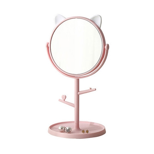 動物耳朵造型旋轉化妝鏡(粉色)1入【小三美日】空運禁送 D021973