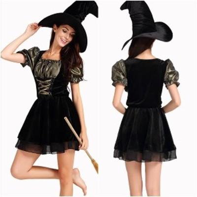 ハロウィン コスチューム 衣装 ワンピース 魔女 大人女性 シック ミニ丈 帽子 コスプレ