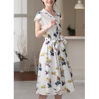花柄シャツミモレ丈ワンピース (ワンピース)Dress