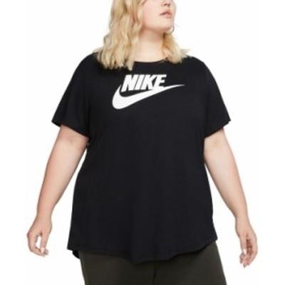 ナイキ レディース Tシャツ トップス Plus Size Sportswear Cotton Logo T-Shirt Black/White