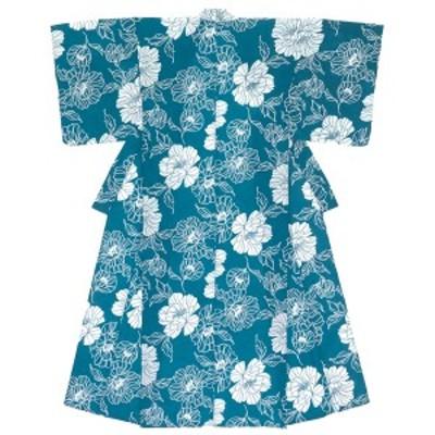 レディース浴衣 青系 ブルー 牡丹 ボタン 花 フラワー 綿 夏祭り 花火大会 女性用 仕立て上がり