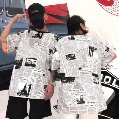 Tシャツ 半袖 ラウンドネック メンズ トップス カットソー 丸襟 丸首 ユニーク 英字新聞柄 ユニーク 面白い おもしろい カジュアル モノトーン調