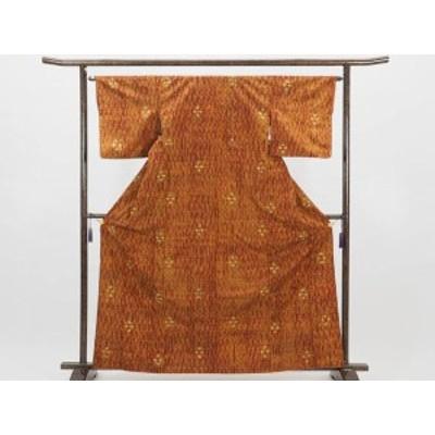 【中古】リサイクル紬 / 正絹茶色地袷真綿紬着物 (古着 中古 紬 リサイクル品)