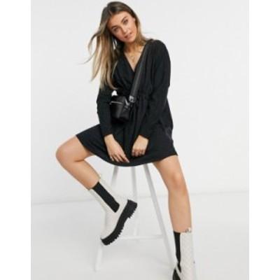 エイソス レディース ワンピース トップス ASOS DESIGN neppy mini wrap mini dress with long sleeves in black Black