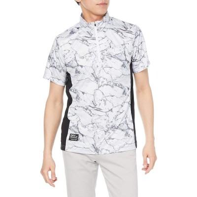 [カジメイク] 冷却テクノロジー 冷感プリント半袖ZIPシャツ MSホワイト M