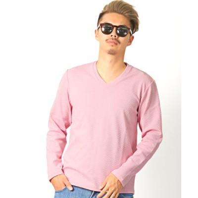 【ラグスタイル】 ジャガードロンT/ロンT メンズ Tシャツ Vネック 長袖 ジャガード ヘリンボーン BITTER ビター系 メンズ ピンク L LUXSTYLE