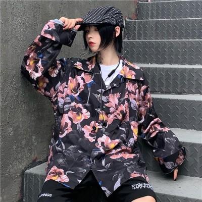 原宿系 レディースファッション 総柄 長袖 シャツ ブラウス カラフル  奇抜 青文字系 トップス
