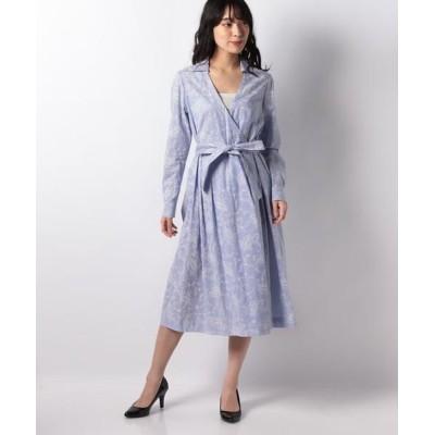 LAPINE BLANCHE/ラピーヌ ブランシュ ストライプ×更紗プリントカシュクールシャツドレス ブルー 38