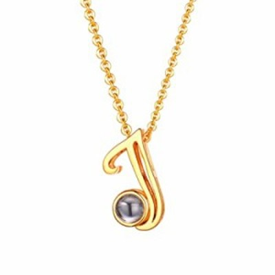 Initial J Necklace U7 Jewelry 18K Gold Plated Letter Pendant with Magic 100 Lauguages I Love You Monogram Necklaces for Women Gi