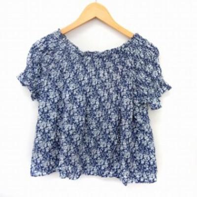 【中古】フリークスストア FREAKS STORE カットソー Tシャツ 半袖 花柄 2WAY オフショル F ブルー /ST16 レディース