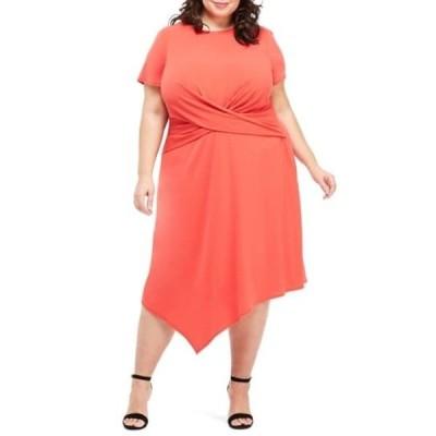 マギーロンドン レディース ワンピース トップス Draped Asymmetrical Dress (Plus Size) FIESTA RED
