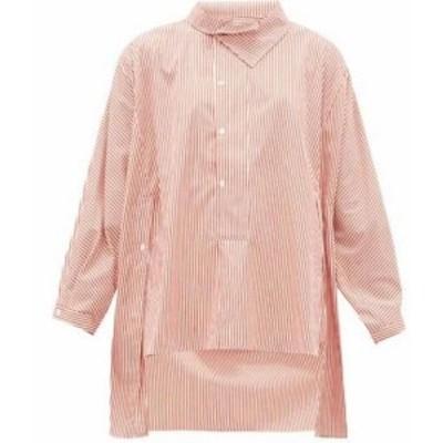 パルマーハーディング Palmer//harding レディース ブラウス・シャツ トップス Miad asymmetric striped cotton-poplin shirt Red