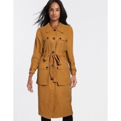 エイソス レディース コート アウター ASOS DESIGN four pocket trench coat in ochre Ochre