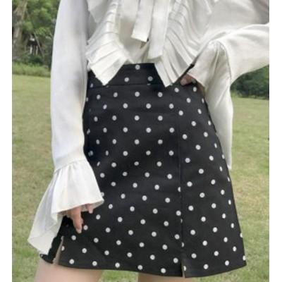 韓国 ファッション レディース スカート ミニスカート ミニスカ ドット柄 水玉 台形スカート タイト ハイウエスト シンプル ガーリー