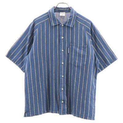 コロンビア リネンブレンド ストライプ柄 半袖 シャツ S 紺 Columbia 開襟 オープンカラー メンズ 古着 200807 メール便可