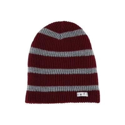 ネフ ヘッドウェア 帽子 ハット ビーニー ニット帽 Neff 帽子 キャップ ハット - Neff ビーニー - Daily ストライプ - バーガンディ ワンサイズ
