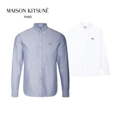 MAISON KITSUNE シャツ メゾンキツネ ワンポイントシャツ メンズ TRICOLOR FOX SHIRT トリコロール  全2色  AM00400WC0003