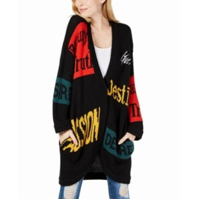 GUESS ゲス ファッション トップス Guess Womens Black Size Small S Icon-Print Snap-Front Cardigan Sweater