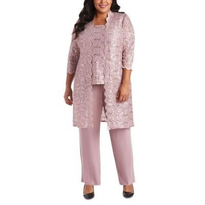 アールアンドエムリチャーズ カジュアルパンツ ボトムス レディース 3-Pc. Plus Size Sequined Lace Pantsuit & Shell Mauve
