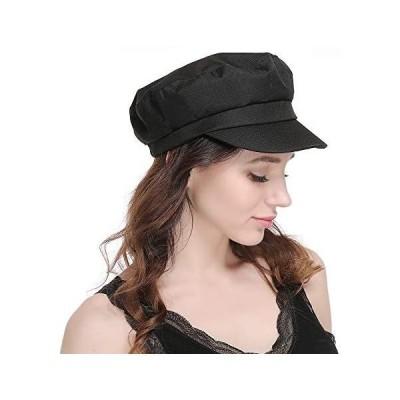 キャスケット 帽子 レディース ワークキャップ UV つば広 小顔効果 無地 サイズ調整可 (ブラック Free Size)