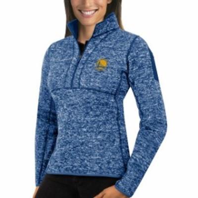 Antigua アンティグア スポーツ用品  Antigua Golden State Warriors Womens Heather Royal Fortune Half-Zip Pullover Jack