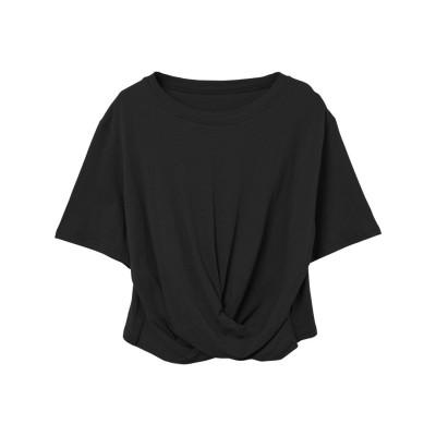 リエディ Re:EDIT フロントツイスト5分袖クルーネックトップス (ブラック)